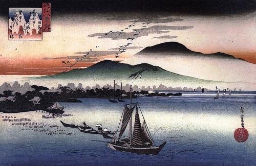 歌川広重による『近江八景』「堅田の落雁」