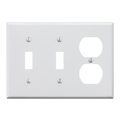 プラスチックコンビプレート(ホワイト)2口スイッチ2口コンセント