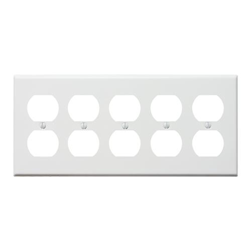 スチール10口コンセントプレート(ホワイト)