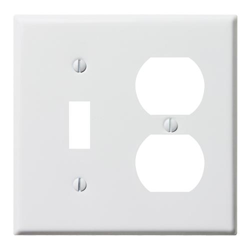 スチールコンビプレート(ホワイト)1口スイッチ2口コンセント