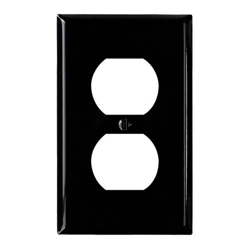 スチール2口コンセントプレート(艶ありブラック)