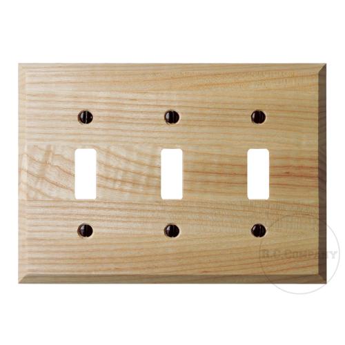 木製3口スイッチプレート(ナチュラル)