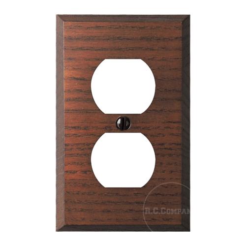 木製2口コンセントプレート(ブラウン)