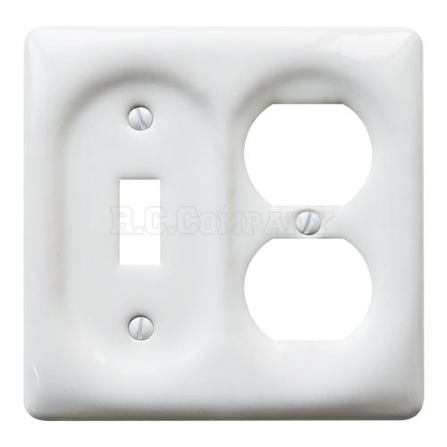 セラミックコンビプレート(ホワイト)1口スイッチ2口コンセント