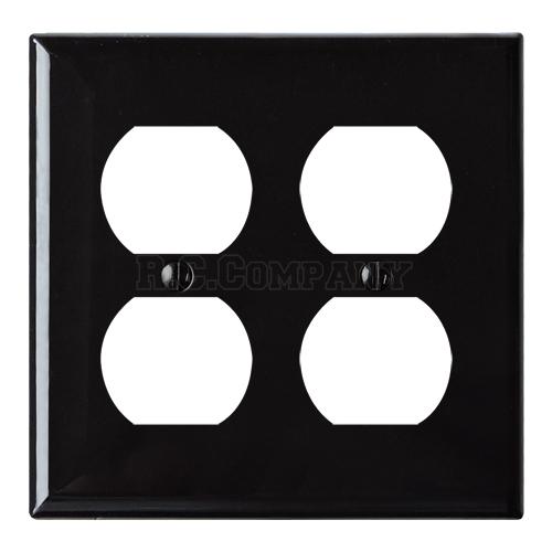 プラスチック4口コンセントプレート(ブラック)
