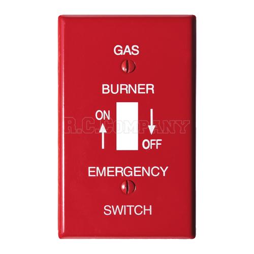 スチール1口スイッチプレート (レッド) GAS BURNER