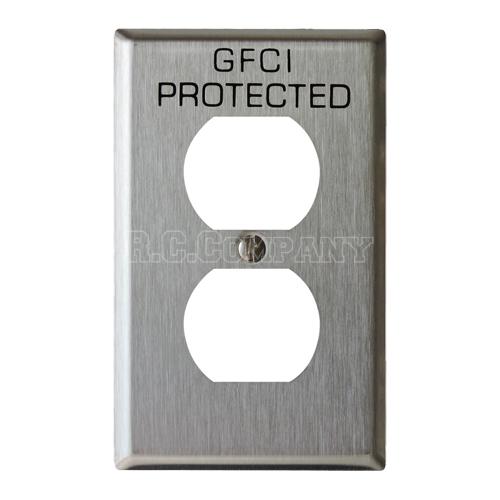 ステンレスヘアライン2口コンセントプレート GFCI PROTECTED(ブラック)