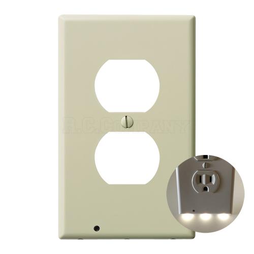 プラスチック2口コンセントプレート LEDガイドライト (ベージュ)