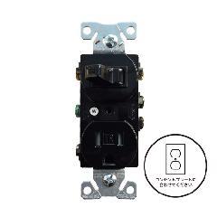 3路スイッチ/TRコンセント (ブラック)アメリカ製 TR293BK