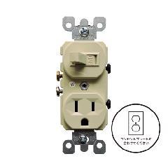 片切りスイッチ/コンセント(ベージュ)アメリカ製 274V