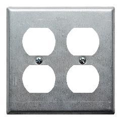 スチール4口コンセントプレート(亜鉛メッキ)