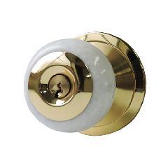 ドアノブ マーブルストーンホワイト ゴールド丸座(鍵付き)