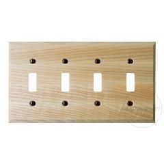 木製4口スイッチプレート(ナチュラル)