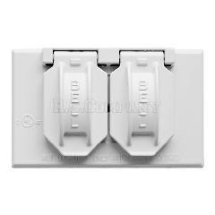 外部用スイッチ・コンセントカバー ホワイト(セパレート Hubbell)
