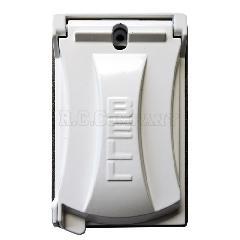 外部用スイッチ・コンセントカバー・ホワイト(シングル Hubbell)