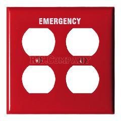 スチール4口コンセントプレート (レッド) EMERGENCY