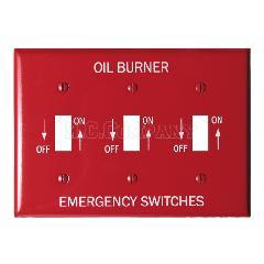 スチール3口スイッチプレート (レッド) OIL BURNER