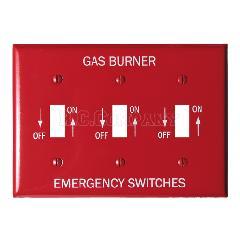 スチール3口スイッチプレート (レッド) GAS BURNER