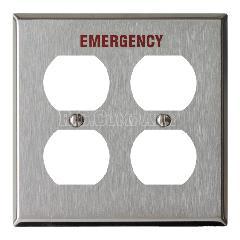 ステンレスヘアライン4口コンセントプレート EMERGENCY(レッド)