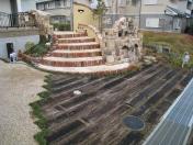 煉瓦と石の階段アプローチ