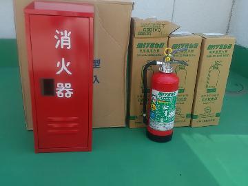 消火器ボックス取付け、消火器の交換
