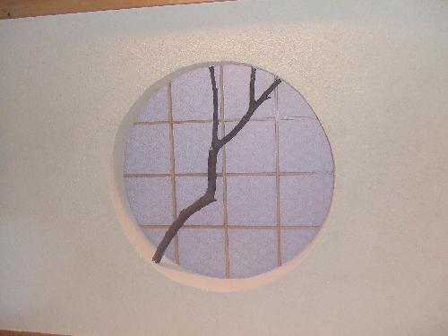 障子(愛知名古屋店舗)丸窓、デザイン、ワーロン 張替え