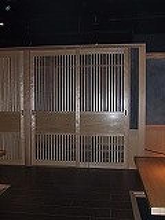帯付格子戸(愛知県名古屋市)店舗建具、間仕切り(飲食店)