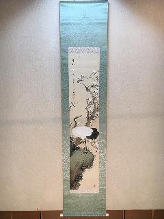 掛軸 白梅に鶴