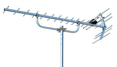 上のアンテナがVHFで下がUHF。地デジは下のタイプです。