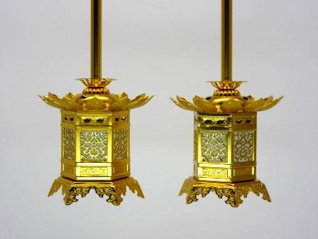 ◇アルミ神前灯籠 東用(丁足) 1.5寸 1対入