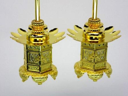 真鍮 神前灯籠 西用(猫足)本金1.8寸(1対)