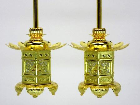 真鍮 神前灯籠 西用(猫足)本金2.0寸(1対)