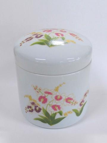 ★花柄骨壺 白胡蝶蘭 7.0寸