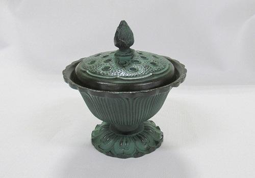 ★高級伝統美術 香炉 蓮華 青銅色
