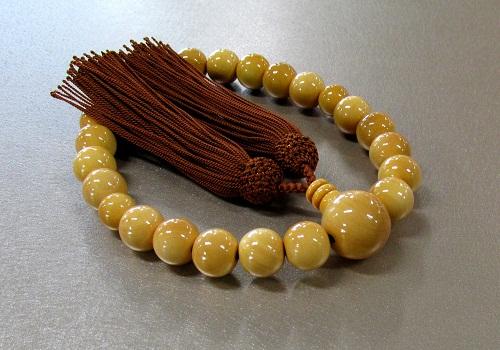 ◆男性用片手念珠 柘22玉共仕立 人絹頭房