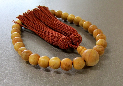 ◆男性用片手念珠 桧27玉 共仕立 人絹頭房