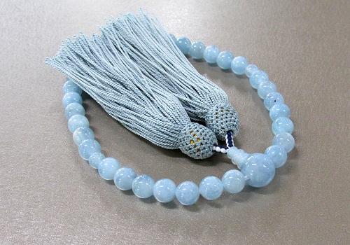 ◆女性用片手念珠 アクアマリン8�玉共仕立 正絹頭房 桐箱入