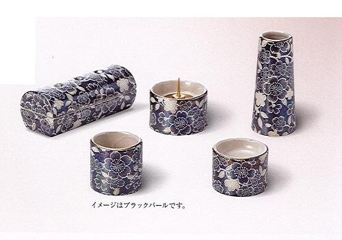 ★ゆい花 佛具5点セット (陶器製) 筒型香炉