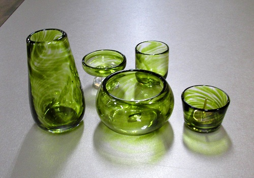 ●オリジナルガラス仏具 5具足 モス