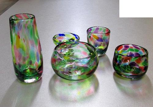 ★オリジナルガラス仏具 5具足 マーブル