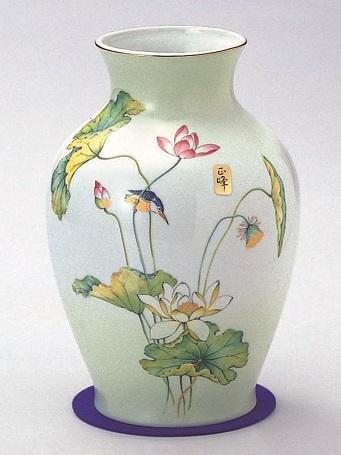 ◇美濃焼花瓶 8号グリーン吹ハス花瓶