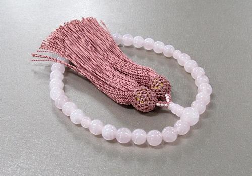 ◆女性用片手念珠 ローズクォーツ8�o玉共仕立 正絹頭房