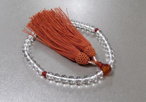 □女性用片手念珠 水晶7�o玉カーネリアン仕立 正絹頭房