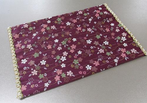 ◆防炎加工 経机掛・経机敷 18号 唐木型 美桜 紫