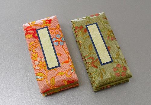 ●錦金襴 鳥の子過去帳 3.5寸日付入 緑箱 彩華・鳳翔