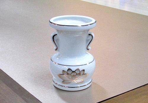 ◇花瓶・花立 大玉仏花 5.5寸 白上金ハス×4ヶ入