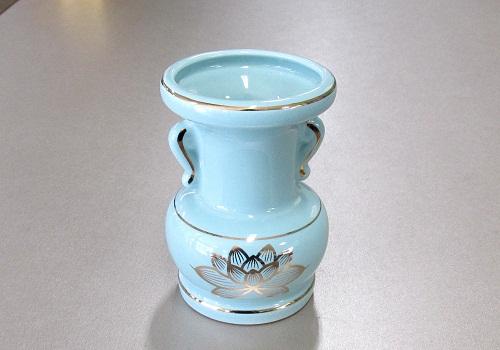 △花瓶・花立 大玉仏花 青磁上金ハス 5.0寸×1ケース(4ヶ入)