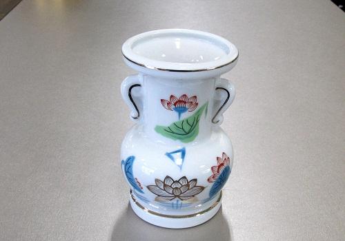 ★花瓶・花立 大玉仏花 金ハス吹 5.0寸