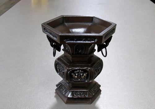 ●花瓶・花立 六角菖蒲型 花立 4.0寸 一対入