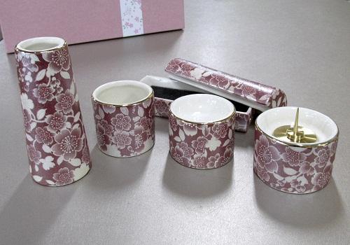 ■ゆい花 佛具5点セット (陶器製) 筒型香炉 ワイン